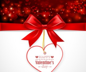 Valentines day elements with red bow card vector