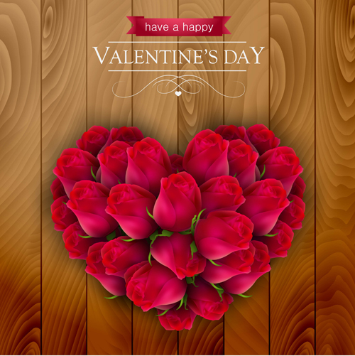 Valentines Day Elements With Wooden Background Vector 10 Free Download