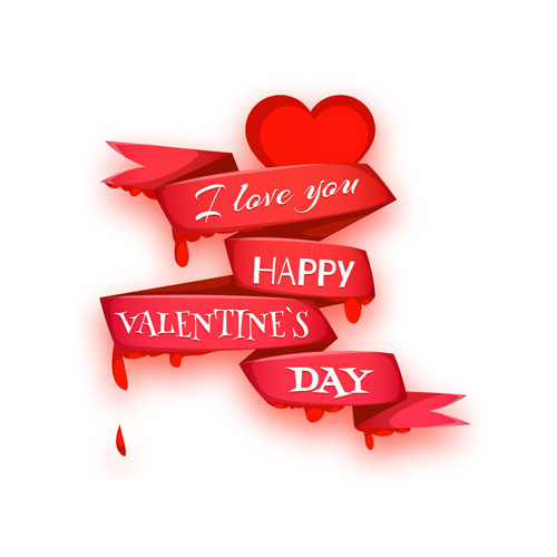 Valentines Day Ribbon With Heart Vector Free Download