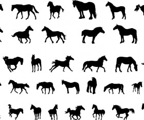 Vector horses silhouetters set 02