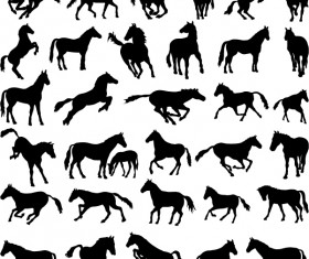 Vector horses silhouetters set 03