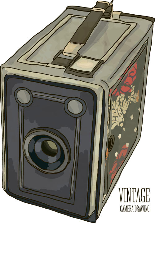 Vintage camera hand drawing vectors set 02 - Vector Life ...