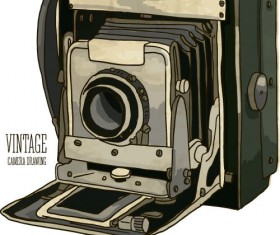 Vintage camera hand drawing vectors set 06