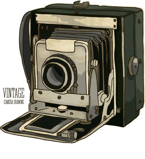 Vintage camera hand drawing vectors set 06