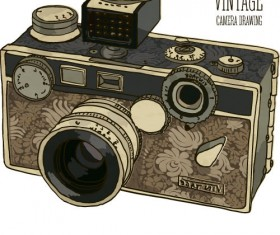 Vintage camera hand drawing vectors set 07