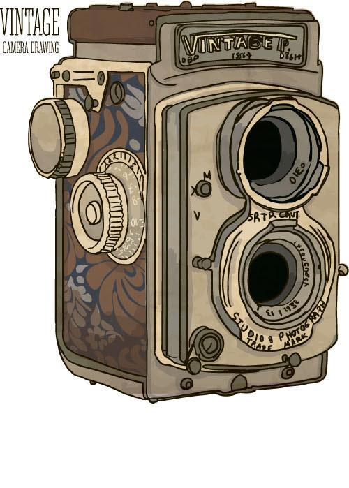 Vintage camera hand drawing vectors set 08