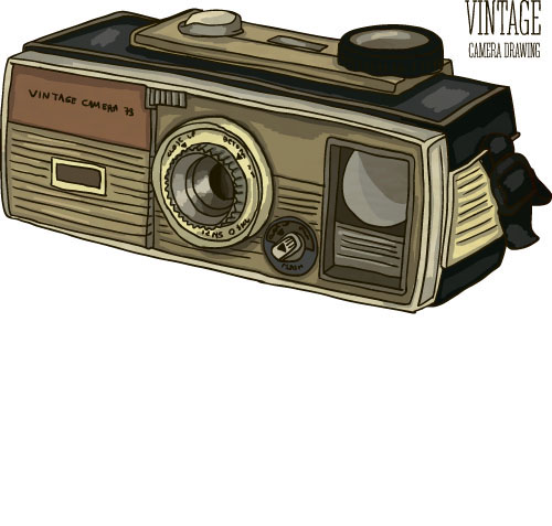 Vintage camera hand drawing vectors set 09