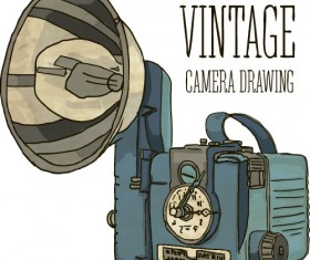 Vintage camera hand drawing vectors set 10