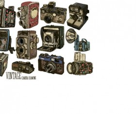 Vintage camera hand drawing vectors set 11