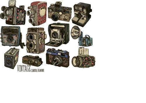 Camera Vintage Vector Free : Vintage camera hand drawing vectors set 11 free download