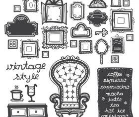 Vintage chair with frames vector material 02