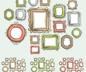 Vintage colored frames hand drawn vector