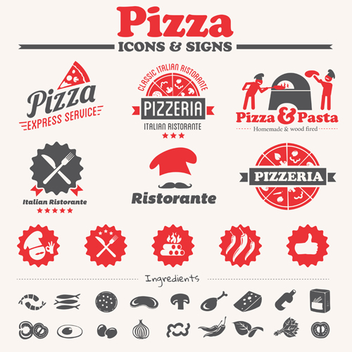 Vintage pizza icons with logos vector