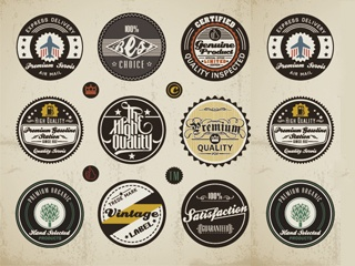 vintage round badge vector material free download