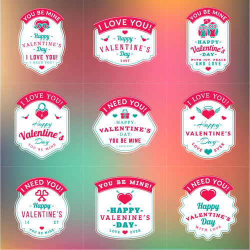 Vintage Valentines Day Labels Vector Set   Vector HeartShaped