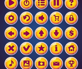 Web video game round ioncs button vector