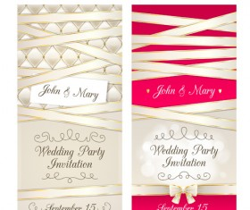 Wedding party invitation cards creative vector