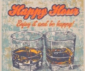 Whiskey poster hand drawn vectors material 01