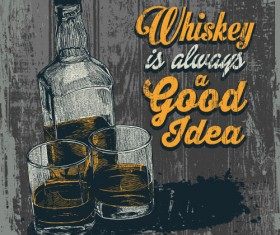 Whiskey poster hand drawn vectors material 03