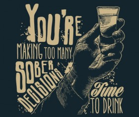 Whiskey poster hand drawn vectors material 04