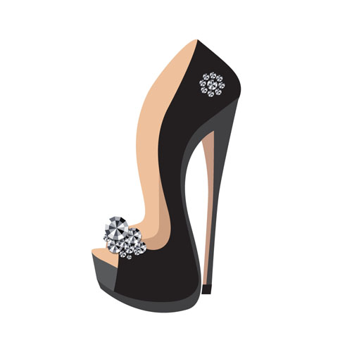 Women high heeled shoes vector illustration 03