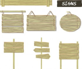 Wooden signs design vectors set 09