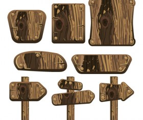 Wooden signs design vectors set 10