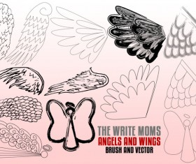Write Moms Angels and Wings Photoshop Brushes