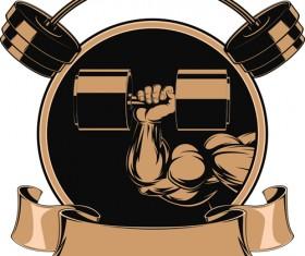 brown gym labels vector set 02