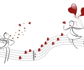 lover boy and girl with red heart balloons hand drawing vectors 03