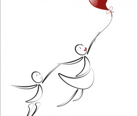 lover boy and girl with red heart balloons hand drawing vectors 05