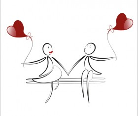 lover boy and girl with red heart balloons hand drawing vectors 06