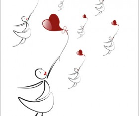 lover boy and girl with red heart balloons hand drawing vectors 08