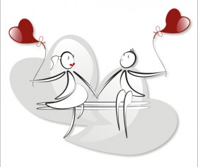 lover boy and girl with red heart balloons hand drawing vectors 09