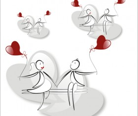 lover boy and girl with red heart balloons hand drawing vectors 10