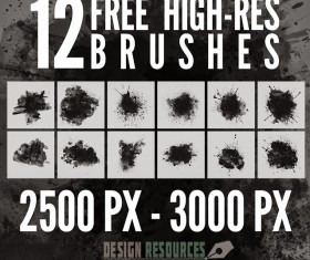 12 Kind Splatter Photoshop Brushes