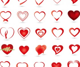 Abstract heart icons vector