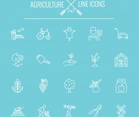 Agriculture outline icons set 01