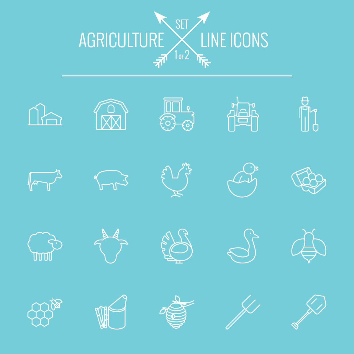 Agriculture outline icons set 02
