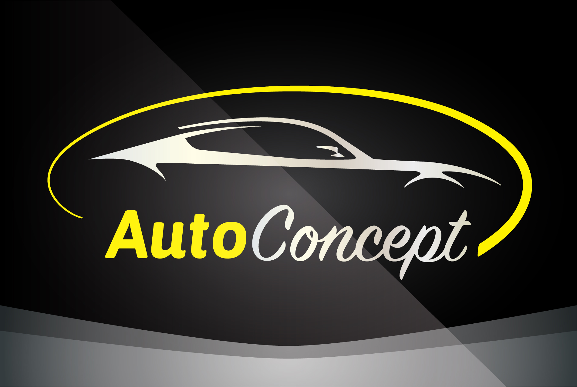 Auto Company Logo Vector Design Concept with Sports Car Silhouette - Yellow