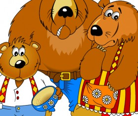 Bear and family vector material 01