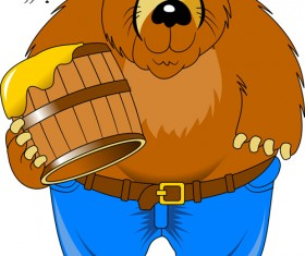 Bear and honey vector material