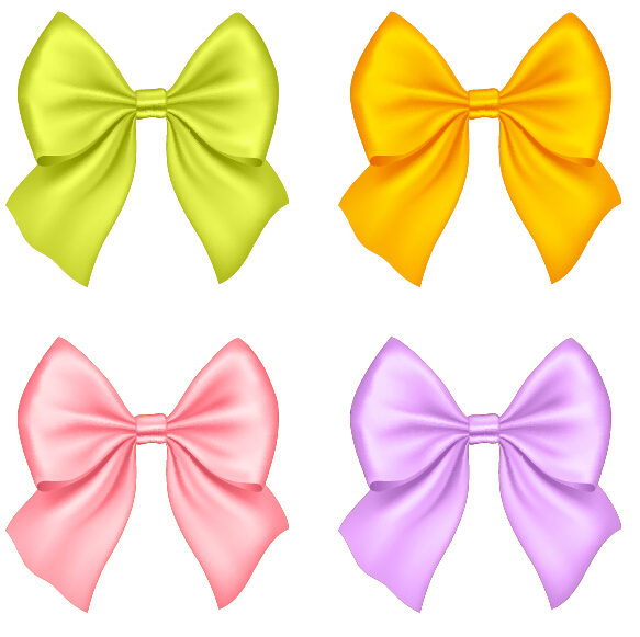 Beautiful colored bow vectors set 01