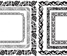 Black floral frame retor styles vector 01