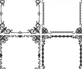 Black floral frame retor styles vector 02