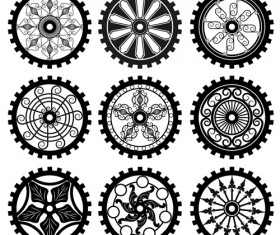 Black gears icons vector set 01