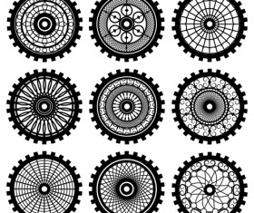Black gears icons vector set 02