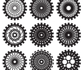 Black gears icons vector set 03