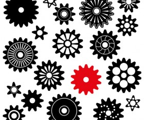 Black gears icons vector set 04