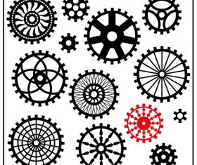 Black gears icons vector set 05